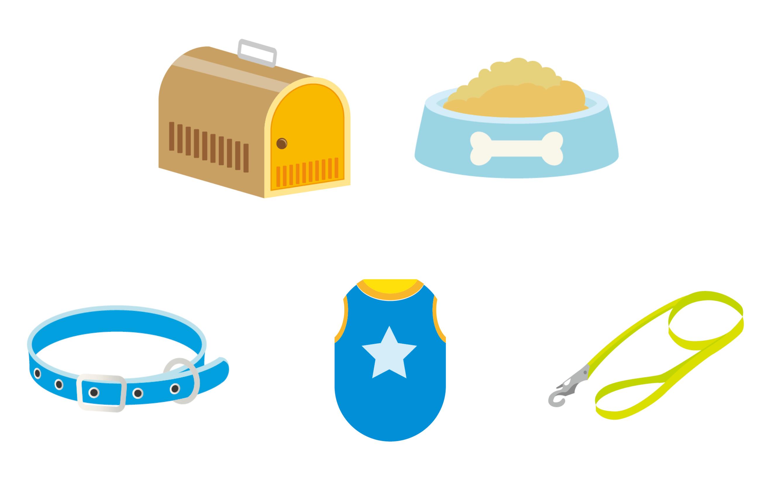 供養できる用品の画像(ケージ・食器・首輪・服・リード)
