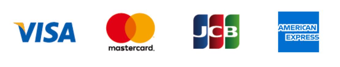 使用できるクレジットカードの画像(Visa,mastercard,JCB,AMERICAN EXPRESS)