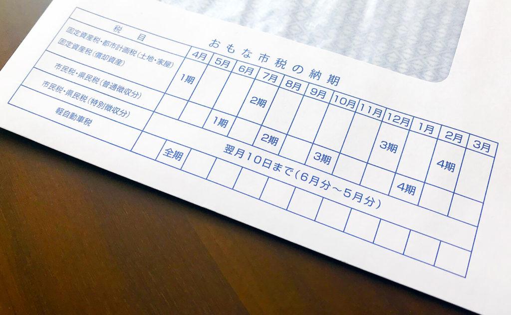 横浜市から送られてくる市税の封筒